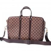 2010年新作 Louis Vuitton 激安 ルイヴィトン 新品 ダミエ ポルトド キュマン・ヴォワヤージュGM ビジネスバッグ ダークブラウン N41122
