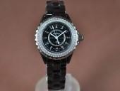 シャネル 新作&送料込 Chanel J12 Black Ceramic Diam Markers/Bez Ladies Japanese Qtz腕時計J-CH0068