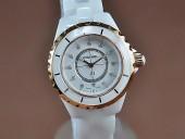 シャネル 新作&送料込 Chanel J12 TT White Ceramic Diam Markers Men Japanese Quart腕時計 J-CH0042