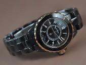 シャネル 新作&送料込 Chanel J12 TT Black Ceramic Num Markers Men Japanese Quart腕時計 J-CH0043