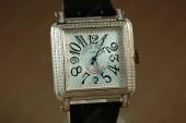 フランクミュラー 新作&送料込 Franck Muller Watches Conquistador Bezel Diamond RG Case White Dial, Black Strap Japan Automatic J-FN0065