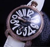 ガガ ミラノ 新作 5012 PGダイヤベゼル ブラック文字盤/ホワイトINDEX 白革 ga014