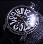 ガガ ミラノ 新作 5012 BL&WHダイヤベゼル ブラック文字盤/ホワイトINDEX 黒革 ga013