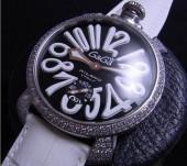 ガガ ミラノ 新作 5012 ダイヤベゼル ブラック文字盤/ホワイトINDEX 白革 ga012