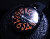 ガガ・ミラノGAGA MIRANO 40㎜ PVD / ブラック文字盤 INDEX オレンジ ga001